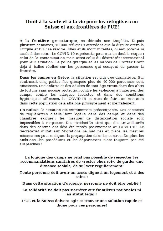 Action pour l'accueil des migrant.e.s des camps de concentration en Grèce